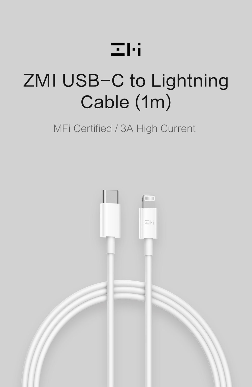 ZMI 1m - 3A 18W USB Type-C to MFi Lightning Cable with PowerDelivery (PD)​