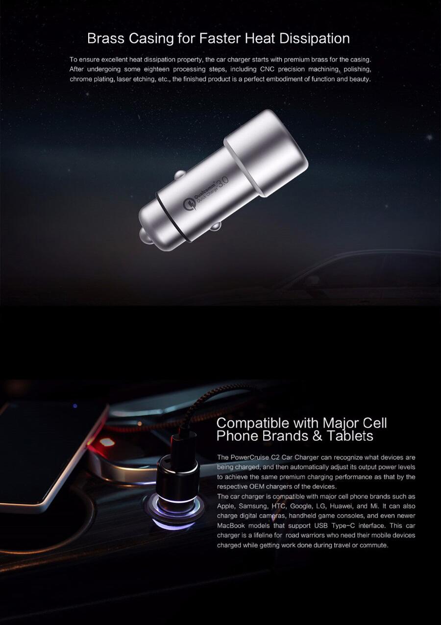 ZMI PowerCruise C2 36-Watt Dual USB Car Charger with QC 3.0