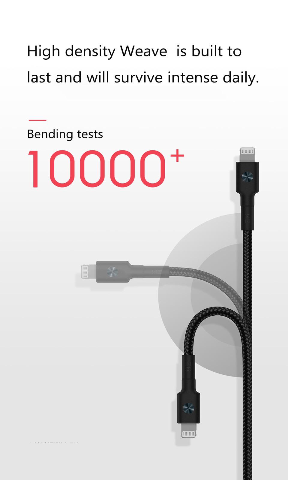 ZMI Braid Black USB-C to Lightning Cable - MFi Certified