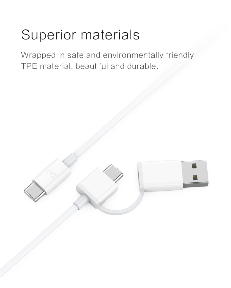[3.3ft] ZMI USB-C to USB-C Cable with USB-C (F) to USB-A Adapter