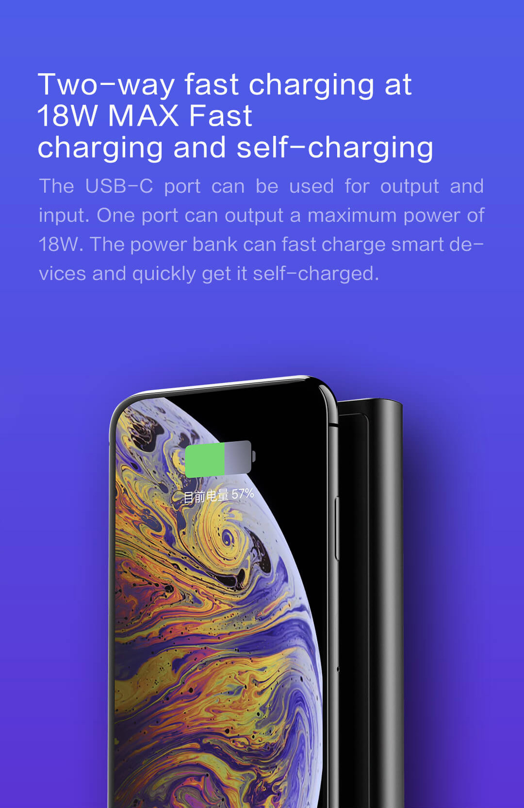 ZMI LevPower M10 USB-C Power Bank, Qi Certified Wireless Charger, Apple MFi Certified, USB PD, Lightning Port Input