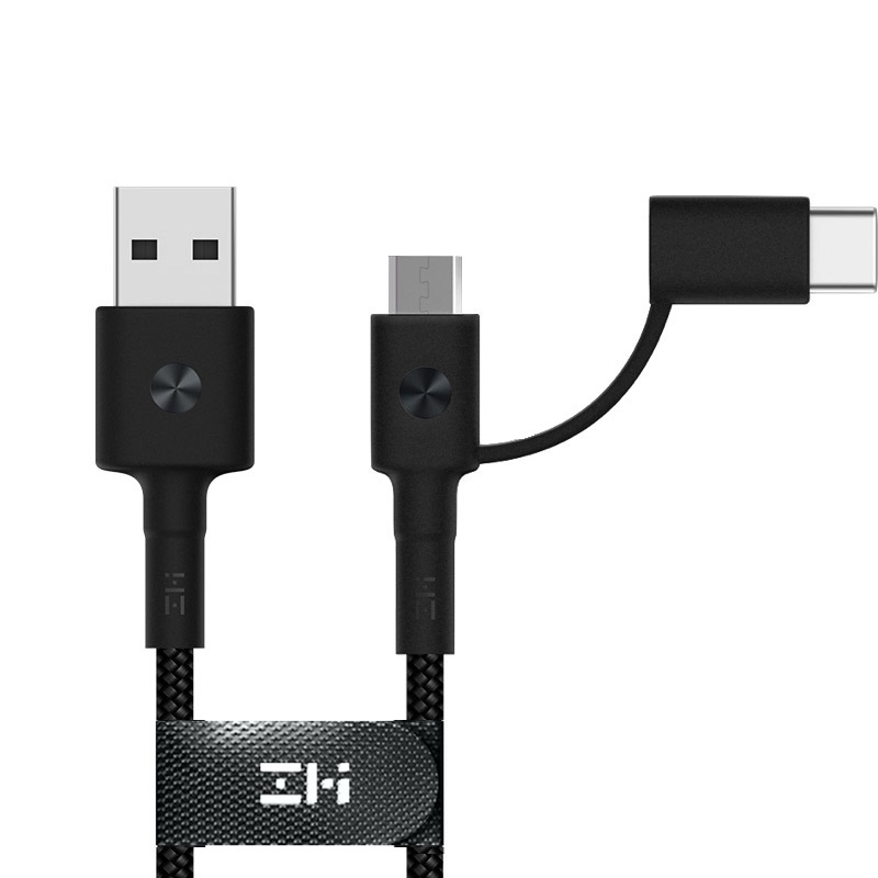 ZMI 1m - 3A 2in1 USB Type-A to MicroUSB/Type-C Adaper Quick Charge (QC) Cable